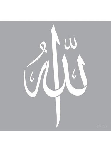 Artikel Allah Yazılı Stencil Tasarımı 30 x 30 cm , Boyama Şablonu Renkli